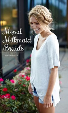 Hair by me!! Milkmaid braids are an easy and adorable solution to any hair catastrophe, but sometimes even the most classic hair looks need an update. Enter the mixed milkmaid braid. Combine a simple three-strand braid and the ever-popular fishtail braid to create a braided boho look that is anything but ordinary. - DivineCaroline.com
