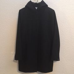 Black wool hooded peacoat Wool hooded black peacoat in size medium. Button front. Hood does not remove. 100% wool shell. 100% polyester lining. Rarely worn. Good overall shape. Recently returned from the cleaners. Jason Kole Jackets & Coats Pea Coats