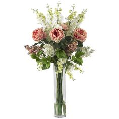 Enjoy natural beauty with this faux rose, delphinium, and lilac arrangement. Delicate lifelike blooms are nestled among leafy greens in a sleek glass vase, o...