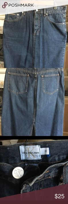Calvin Klein size 10 Jean Skirt Calvin Klein size 10 jean skirt with split in the back.  100% Cotton & 28 inches long. Calvin Klein Jeans Skirts