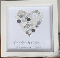 Personalised 1st Anniversary Button Print - One Year & Counting Framed Picture