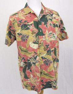 Polo Ralph Lauren Hawaiian Shirt Large Vintage Caldwell Floral Hibiscus Aloha #PoloRalphLauren #Hawaiian