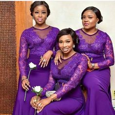African Attire, African Wear, African Fashion Dresses, African Dress, Purple Bridesmaid Dresses, Wedding Bridesmaids, Wedding Attire, Wedding Gowns, Beaded Wedding Cake