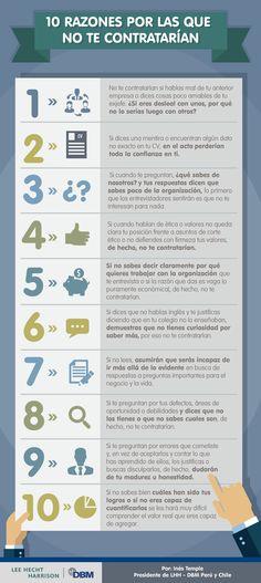 Hola: Una infografía con 10 razones por las que no te contratarían. Un saludo