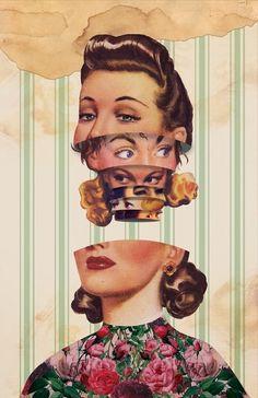 A Digital Collage Depicting Mixed Emotions I Colagem arte, retrô look, arte. Collage Kunst, Art Du Collage, Surreal Collage, Mixed Media Collage, Surreal Art, Digital Collage, Collages, Photomontage, Illustrations