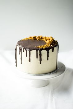 Dark Chocolate Cake w/ Salted Caramel Buttercream, Chocolate glaze and Honeycomb