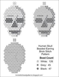 Brick Stitch Bead Patterns Journal: Human Skull Free  Brick Stitch Seed Bead Earring Halloween Pattern.  Go to brickstitchbeadpatterns.blogspot.com for more free patterns.