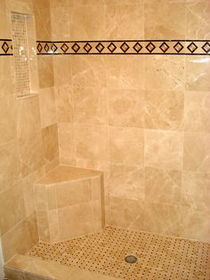 bathroom tile ideas | Custom Tile Showers - Tile St. Louis - Marble Shower Monument Bench