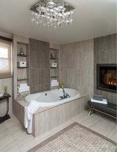 Chiefswood Luxurious Spa Bathroom Soaker Tub Fireplace Built In Shelving