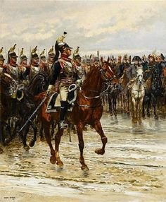 "Napoleon reviewing a Cuirassier Regiment on the morning of Waterloo. The soldiers' enthusiasm and cries of ""Vive l'empereur"" bolstered morale and served to intimidate the Anglo-Dutch troops, not two miles away. Torrential rain had turned the soil soggy, making the effective deployment of artillery impossible, which is why Napoleon decided to wait until ca. 11:30 and the ground had sufficiently hardened. Had he known the Prussians were already underway he might not have wasted valuable time"