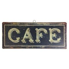 Vintage French Bistro Hanging Tin Sign - 14-in (Cafe)