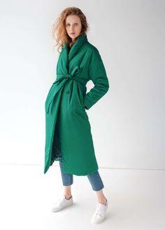 Удлиненное зимнее пальто в изумрудном цвете — NUANCES 5500hrn Clothes For Women, Fashion, Dress, Outerwear Women, Moda, Fashion Styles, Fashion Illustrations