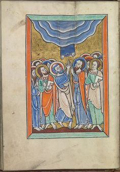 Images from the life of Christ - The Ascension, Christ ascends into heaven above the apostles - Psalter of Eleanor of Aquitaine (ca. 1185) - KB 76 F 13, folium 026v.