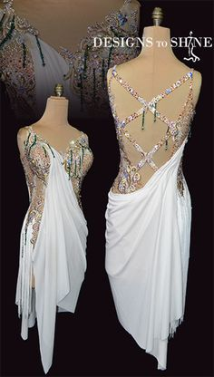 Shop for Latin dancewear in your favorite white color range at Designs to shine by Maria McGill, Our Latin dresses are completely unique in design Latin Ballroom Dresses, Latin Dresses, Carnival Fashion, Greek Goddess Costume, Dance Costumes Lyrical, Salsa Dress, Fringe Dress, Dance Outfits, Dance Wear