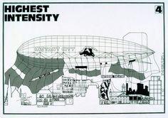 """Peter Cook (Archigram)""""Instant City, Before IC"""", 1969Encre sur calque, 32,2 × 46 cm © Collection Frac Centre / Philippe Magnon"""