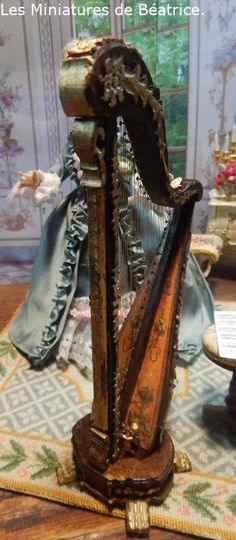 Les Miniatures de Béatrice Harp, Musical Instruments, Bookends, Musicals, Dolls, Decor, Miniature Dolls, Porcelain, Music Instruments