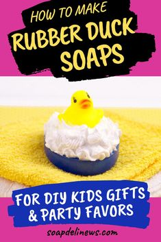 Rubber Ducky Soap Tutorial. Learn how to make fun DIY rubber ducky soaps for children's gifts or party favors with this easy rubber ducky soap tutorial. They're the perfect bath time treat for young fans of Sesame Street! If you have a Sesame Street fan of your own at home, then add this rubber ducky soap tutorial to your project list! These melt and pour soaps a cute gift idea for a child or grandchild. #soapmaking #sesamestreet #kidssoap #soapgifts #partyfavors #craftideas