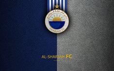 Download wallpapers Al-Sharjah FC, 4k, logo, football club, leather texture, UAE League, Sharjah, United Arab Emirates, football, Arabian Gulf League, Al-Sharjah SCC