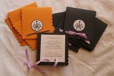 These invitations would work well for the surprise Halloween Birthday Party. Small, discreet, simple, and I could make them myself without too much difficulty.