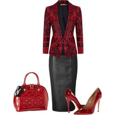 """RED BLACK"" by minnieleehaven on Polyvore"
