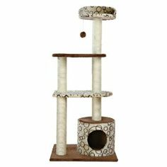 """Trixie Pet Products Gaspard Cat Playground. """"Cat playground covered with soft plush fabric inside and out. Scratching posts wrapped in natural sisal. Condo with extra padding. 3 lying platforms. Includes dangling pom-pom toy. Dimensions: 23.5L x 19.5W x 54.25H inches.""""#cats #CatTree"""