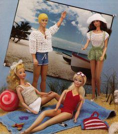 BARBIE/KEN/MONSTER HIGH DOLLS SUMMER BEACH TOGS CLOTHES KNITTING CROCHET PATTERN