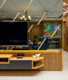 Architectural Design - The Architects Diary Tv Cabinet Design, Tv Wall Design, Ceiling Design, Tv Unit Decor, Tv Wall Decor, Room Decor, Home Room Design, House Design, Design Design