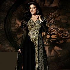 Black Faux Georgette Abaya Style Churidar Kameez