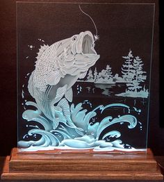 Carved Glass Leaping Bass in Handcrafted Wooden Lit Base