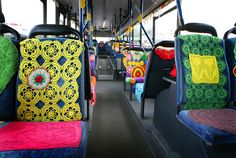 crochet decorated bus seats