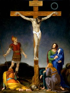 The Fourteen Stations Of The Cross painted by Leonard Porter. Station 12 - Where Christ dies upon the Cross.