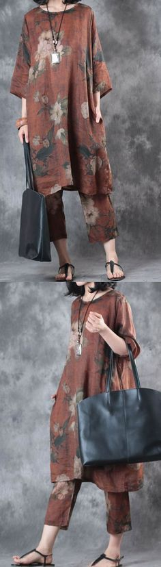chocolate print casual linen two pieces loose bracelet t shirt and stylish crop pants2