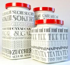 3 Danish Modern Arabia Finland Graphic Canisters designed by Richard Lindh. Decorated by Esteri Tomula Made in Finland