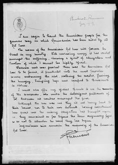 Letter of thanks to the American Red Cross from the King of Roumania American Red Cross, Thankful, Spirit, Names, King, Lettering, Math, Romania, Math Resources