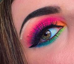 21 Rainbow Eyeshadow Looks - Make up - . - 21 rainbow eyeshadow looks – make up – 21 rainbow eyesha - Makeup Eye Looks, Eye Makeup Art, Eyeshadow Looks, Makeup Inspo, Eyeshadow Makeup, Makeup Inspiration, Eyeshadows, Bright Eyeshadow, Crazy Eyeshadow