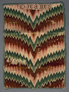 Textiles (Needlework) - Pocketbook - Search the Collection - Winterthur Museum Bargello Patterns, Bargello Needlepoint, Embroidery Tools, Embroidery Designs, Book Letters, Textiles, Pocket Books, Needle Book, Rug Hooking