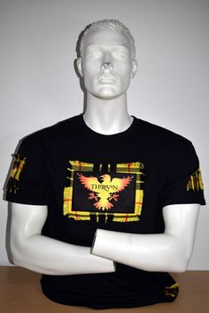 Stranglers Raven custom made t-shirt. Sublimation prints onto velvet fabric and Macleod of Lewis tartan. Made by MoNkA. https://www.facebook.com/monka.rocks/