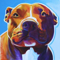 Colorful Pet Portrait Pit Bull Art Dog Print 8x8 by Alicia VanNoy Call on Etsy, $14.00