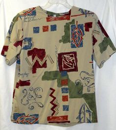 ALFRED DUNNER 10 Short Sleeve Shell Top Tan Green Blue Burgundy Red Womans #AlfredDunner #Tunic #Career