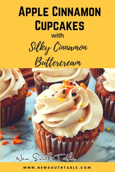 These Apple Cinnamon Cupcakes with Silky Cinnamon Buttercream are super moist and absolutely divine! They are loaded with apple pie filling and have all the flavors of fall. Apple Recipes, Fall Recipes, Holiday Recipes, Baking Recipes, Pumpkin Recipes, Cupcake Recipes, Cupcake Cakes, Disney Cupcakes, Dessert Recipes