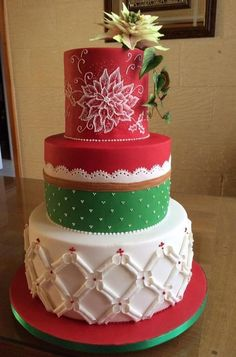 Projects From The Clean & Simple Collection: Elegant Techniques Christmas Themed Cake, Christmas Cake Decorations, Christmas Sweets, Holiday Cakes, Christmas Baking, Christmas Cookies, Xmas Cakes, Christmas 2018 Ideas, Christmas Ideas