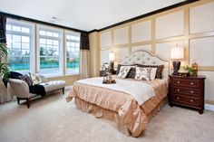 Stunning master bedroom in our Hamptons of Hinsdale community. Note the unique accent wall and plenty of natural light. #MasterBedroom #MasterSuite #BedroomDesign