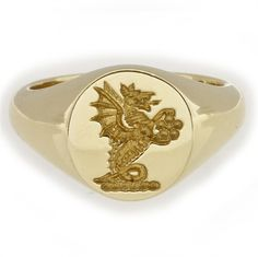 dragon or griffon...? A yellow gold signet ring - Bentley & Skinner