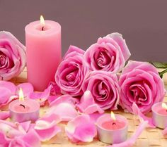 Candle pink by Ranie Ranie Pink Candles, Floating Candles, Best Candles, Pillar Candles, Beautiful Candles, Beautiful Roses, Valentines Gif, Parfum Rose, Fragrant Candles
