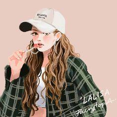 Lisa Blackpink Fan art Lisa Lalisa Manoban [lalalalisa_m] Girl Cartoon, Cartoon Art, Lisa Blackpink Wallpaper, Wonder Woman Movie, Kpop Drawings, Black Pink Kpop, Digital Art Girl, Fan Art, Kpop Fanart