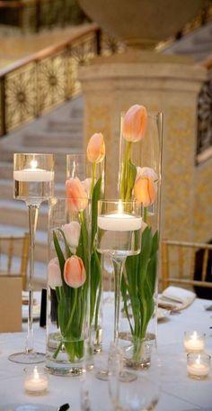 Fresh tulips and wine
