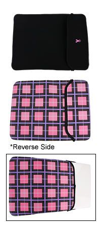 Pink Ribbon Plaid Reversible Neoprene Laptop Sleeve at The Breast Cancer Site