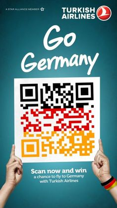 Brand : Turkish Airlines  Source : The brand/ The QR code to fly to germany ! Direct source! The brand uses the QR code with the Germany's colors to promote the destination. Really direct. Enables people to win a ticket.