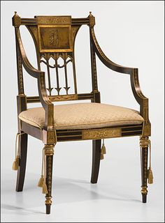 "Decorative Crafts hand painted Sheraton style armchair #6811  |  40""h x 24.25""w x 21.5""d x 24.25"" seat ht x 28.5"" arm ht."