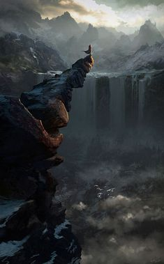 He stood there Above waterfalls looking across trying to see we're he had last seen her stand at the foot of the mountain.